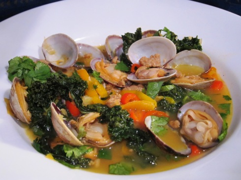 Clams with chorizo, kale and saffron